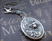 Locket Necklace - Enchanted Birds and Bees - Vintage Inspired Silver Flower Locket with Queen Bee