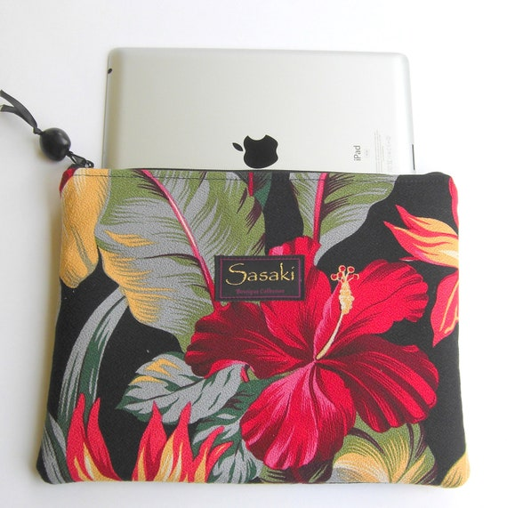iPad Sleeve with Zipper - Tropical Floral Hawaiian Print