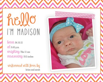 Birth Announcement Photo Card Modern - PRINTABLE, CUSTOM