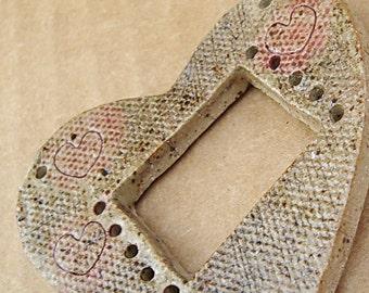 Heart Pottery for Weaving Window rectangular loom style