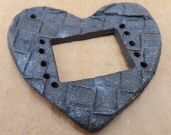 Heart Pottery for Tenerife Teneriffe Necklace or Hanging Chocolate brown Black Weaving Window, Rectangular Loom Style