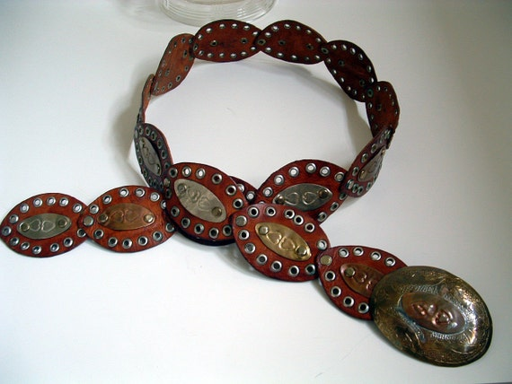 Moroccan Hip Belt, Handmade with metal trim boho Belt
