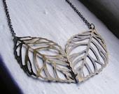 Double Leaf Necklace. Leaf Necklace. Nature Insprired Necklace. Vintage Inspired Necklace. Fall Jewelry