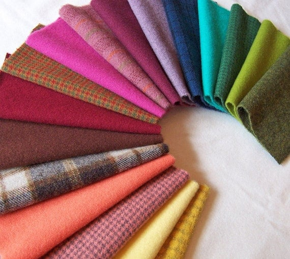 Hand Dyed Felted Wool, 8in.x 8in. - Colorful - for Applique, Penny Rugs, Sewing Projects W1135