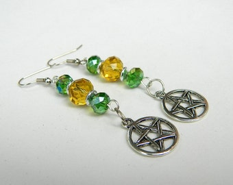 Green and Yellow Beaded Pentacle Dangle Earrings