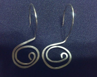 All In One pounded Silver Earrings. Whimsical spiral earrings