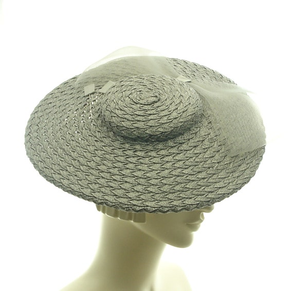 Straw Fancy Hat - Saucer Hat - Boater Hat for Women - Vintage Inspired Fashion - Gray Straw hat