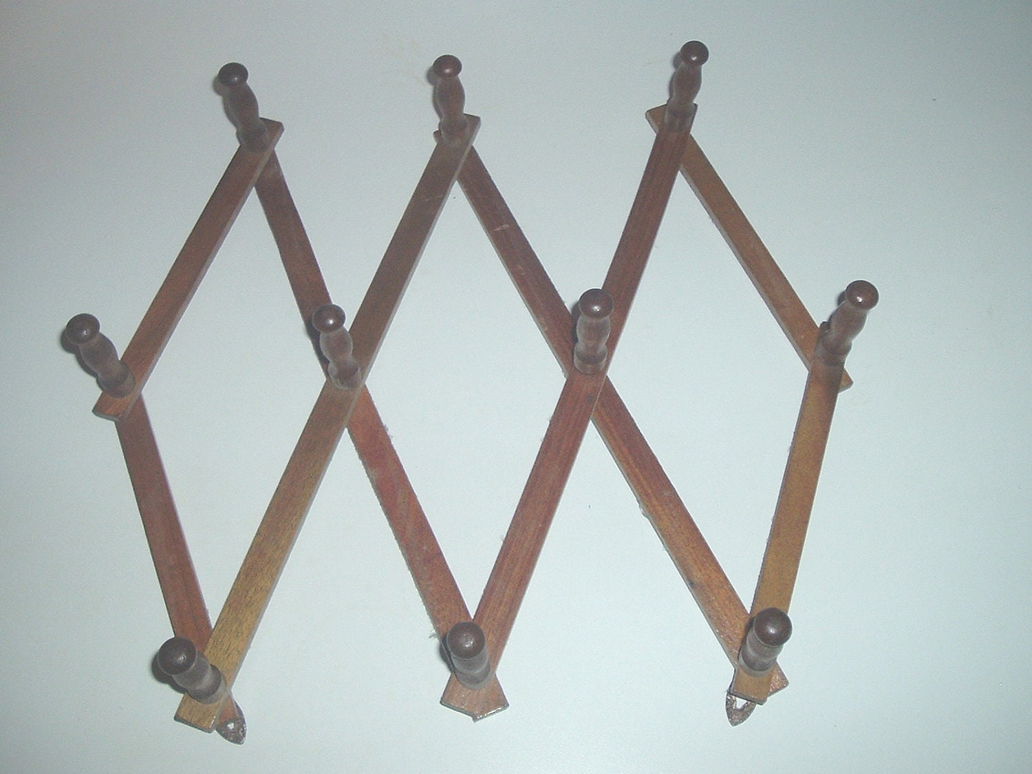 vintage wooden expandable coat hat wall rack 10 peg by mrjerry