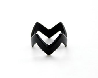 Stacking Zigzag Ring (Matte Black, Gold, or Silver)