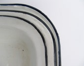Set of Small White Enamelware Pans with Black Trim - Modred12