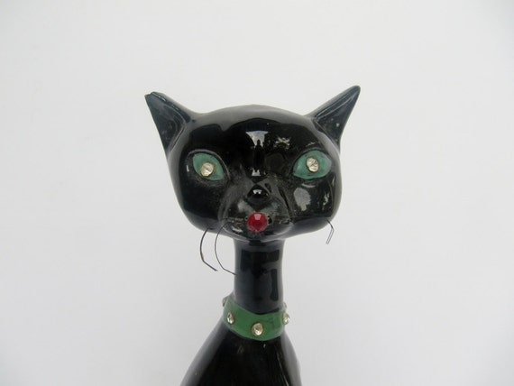 Vintage Mid-Century Black Ceramic Cat with Bling