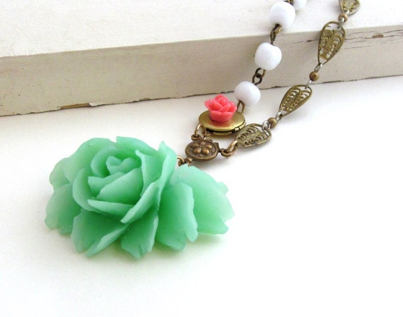 Mint Rose Necklace Mint Flower Necklace Green Rose Necklace White Beaded Necklace Locket Necklace Filigree Necklace - Mint Julep