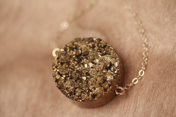 Drusy Agate Gold Nugget Necklace, Bronze Druzy Necklace, Shiny Gold Stone Pendant, Round Stone, Layering, Druzy Jewelry