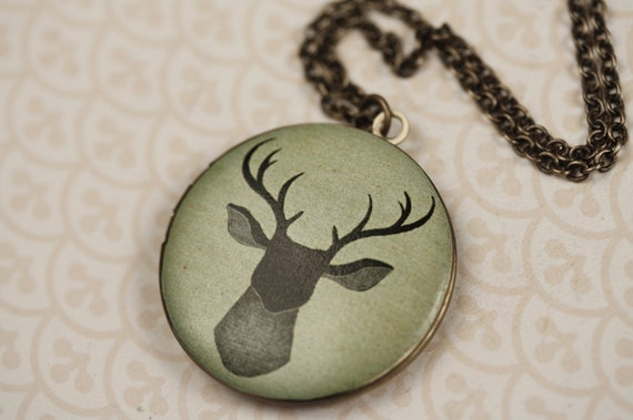 Deer with Anters Image Locket Necklace in Light Green and Antiqued Brass, Large Pendant, Long Brass Chain, Picture Jewelry, Unique Jewellery