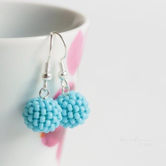 Blue Turquoise Earrings Beaded Bead Dangle