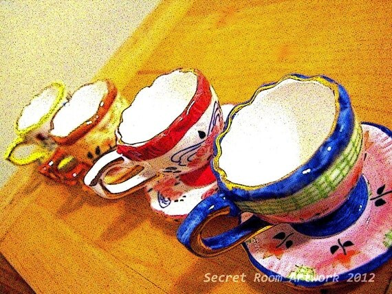 Tiny Tea Cups - Photographic Wall Art - Colorful Tea Party Coffee Photography Print