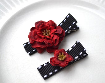 Red flower hair clips, Toddler hair clips, baby hair clips, Baby shower gift, hair clips for sisters, girls hair accessories