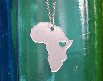Africa HEART Pendant On 18inch Sterling Silver Chain