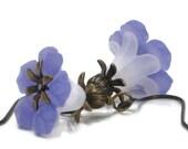 Flower Earrings, Purple, White, Lavender, Lilac, Grape, Star Flower, Antiqued Brass Dangle Earrings, Gift Under 15 - Day Lily
