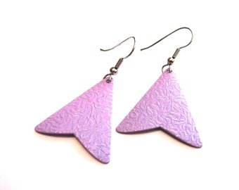 Vintage Purple Metal Textured Fan Dangle Pierced Earrings
