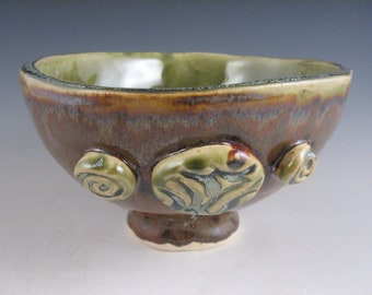 Green and Brown Handmade Pottery Bowl