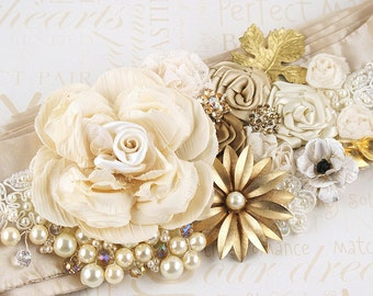 Sash, Bridal, Wedding, Ivory, Champagne, Tan, Gold, Silk, Pearls, Vintage Brooch, Crystals, Lace, Vintage, Elegant Wedding