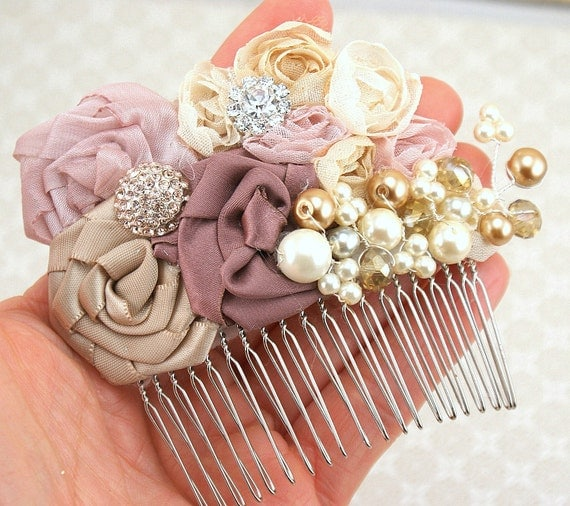 Hair Comb, Blush, Dusty Rose, Rose, Champagne, Tan, Beige, Ivory, Fascinator, Wedding, Bridal Comb, Pearls, Crystals, Elegant Wedding