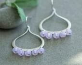 Violet opal earrings, Purple earrings, Purple chandelier earnings, lavender earrings, opal earrings, Purple and silver earrings,