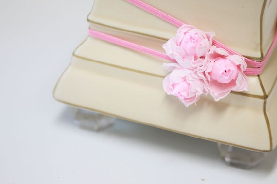 SMELL the ROSES III - Millinery Rose Flower Cluster Headband in Pink