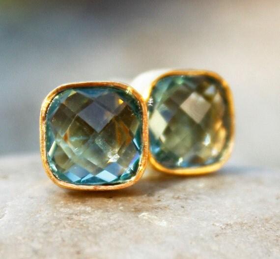 Gold Teal Green Quartz Stud Earrings - Cushion, Square Cut - Post Setting