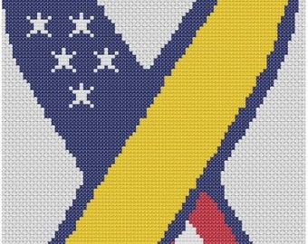 Support Our Troops Ribbon Cross Stitch Printed Pattern