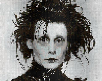 Edward Scissorhands portrait counted Cross Stitch Pattern Johnny Depp