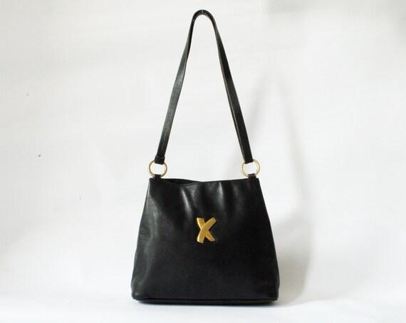 Vintage Black Leather Shoulder Bag Tote Paloma Picasso