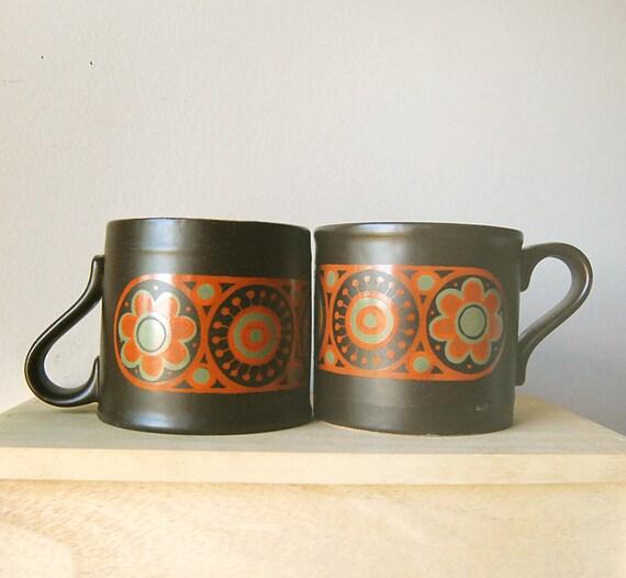 Vintage Pair Of Kiln Craft Hermes Chocolate Brown And Orange