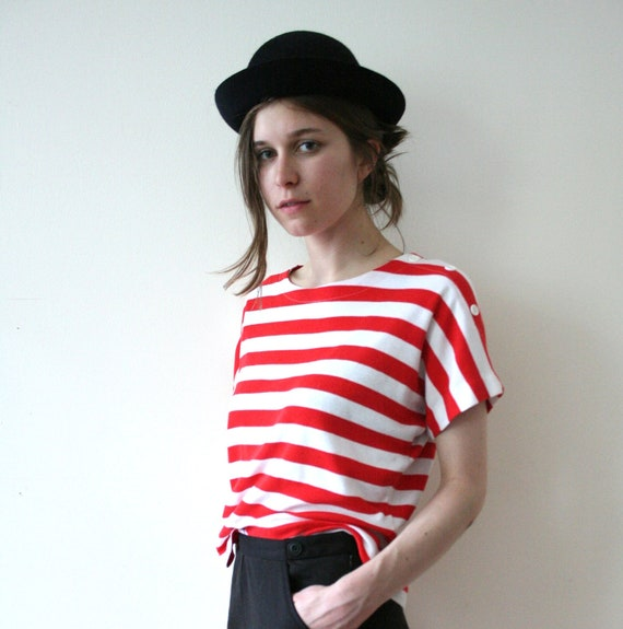 Vintage 80s Striped Cotton Circus Shirt