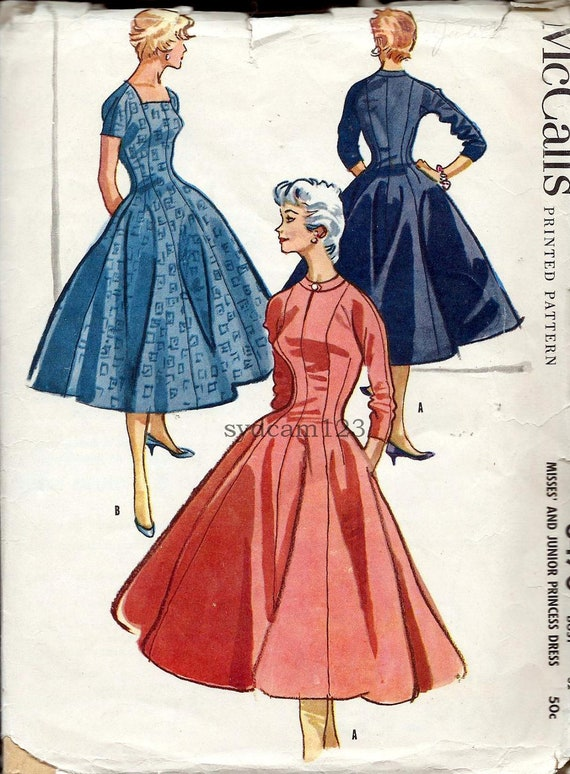 Vintage 1955 Princess Seam Dress Square or Round Neckline...McCalls 3470 Bust 32