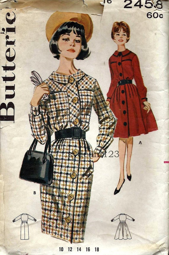 Vintage 1963 Shirtdress Flat Collar and Large Bodice Pockets...Butterick 2458 Bust 36