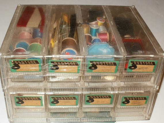 Vintage 1960s-70s Clear Plastic Containers with Sewing Supplies - Treasure Chest of older Sewing Supplies -Thread Zippers Buttons Thimble