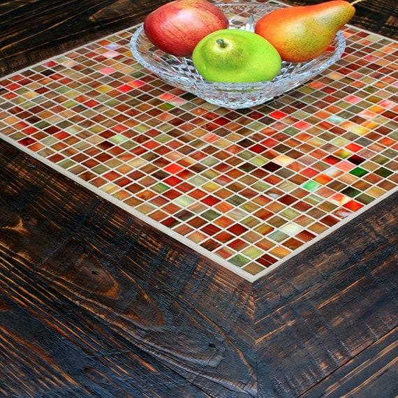 Mosaic Tile Coffee Table. Square Coffee Table W/ Shelf