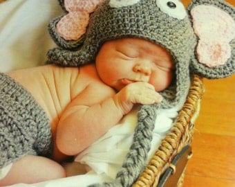 Elephant Hat and Diaper Cover Set-great for photo prop-sizes available newborn, 0-3 months, 3-6 months