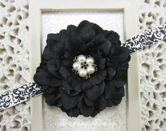 Black Flower Headband, Flower w/ Pearl & Crystal Center Black and White Damask Headband or Hair Clip, The Eva, Newborn Baby Girls Headband