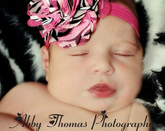 Hot Pink Zebra Flower Headband, Zebra Satin & Hot Pink Tulle Flower Puff Hot Pink Headband or Hair Clip, Newborn, Baby Toddler Child Girls
