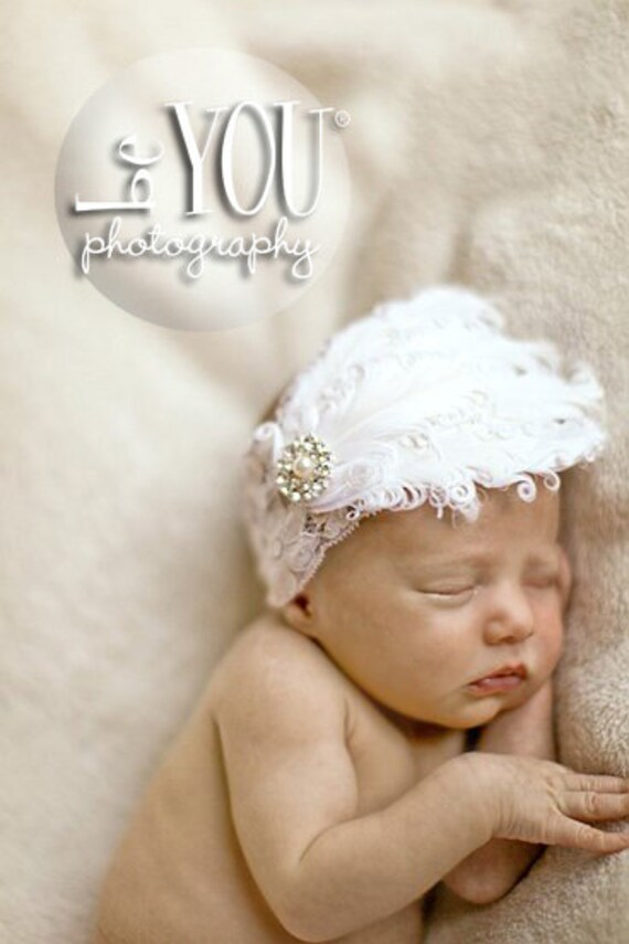 White Feather Lace Headband. Perfect for Pictures.
