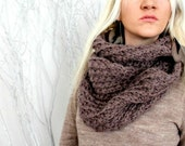 Hand Knitted Infinity Scarf - Taupe Alpaca Hand Knitted Circle Scarf Twice Wrap Chunky Scarf Winter Scarf Oversized Scarf for Woman Gift Her