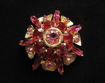 Pink and Red Rhinestone Starburst Brooch