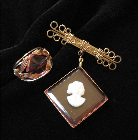 Rose Gold Wire Wrapped Pink Acrylic Ring and Cameo