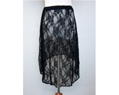 Black Lace Mullet Style Skirt Flower Pattern - Medium (SK109441590)