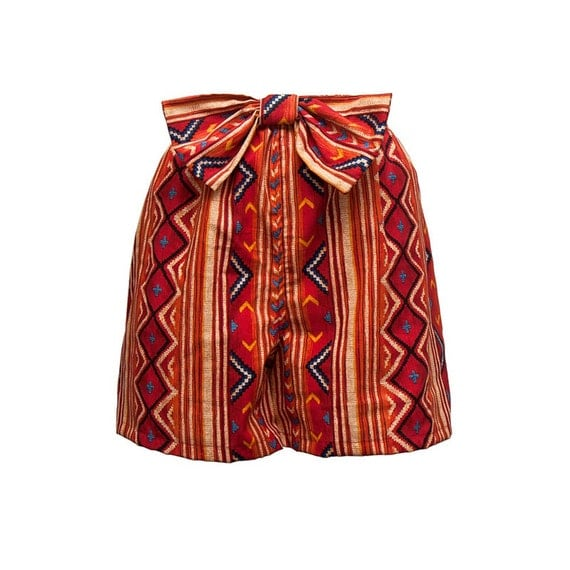 Tribal Print Shorts with Big Accent Bow Size Large (SH102698595)