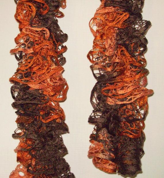 Hand Knitted- Women Fall Scarf- Brown Scarves-Orange Scarves--By KMGEMS Ooak