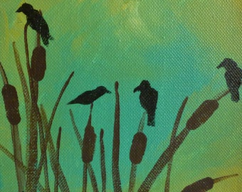 Birds in the Marsh- Original Painting by Jamies Art 6x6